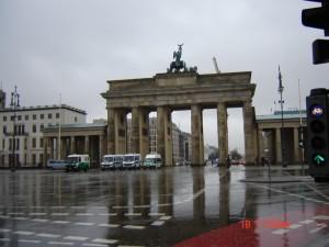 2008 m. Berlynas, Brandenburgo vartai lyjant
