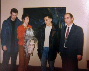 1991 m. Lietuvos radijo ir televizijos Kauno redakcijoje iš kairės – Juras Jankevičius, Monika Domarkaitė, Andrius Rožickas ir Henrikas Vaitiekūnas