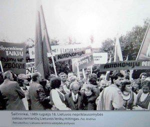 Šalčininkai. 1989 m. rugsėjo 16 d. Lietuvos nepriklausomybės siekius remiančių lenkų mitingas